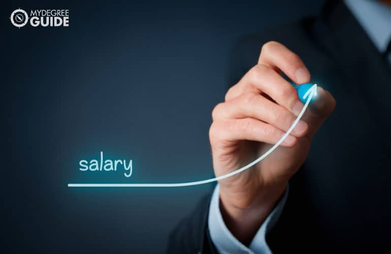 a graphic showing increased salary