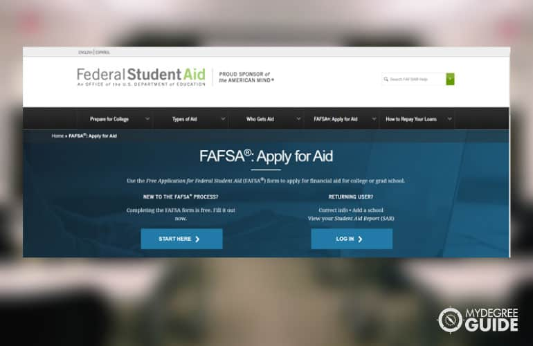 a screenshot of the FAFSA site