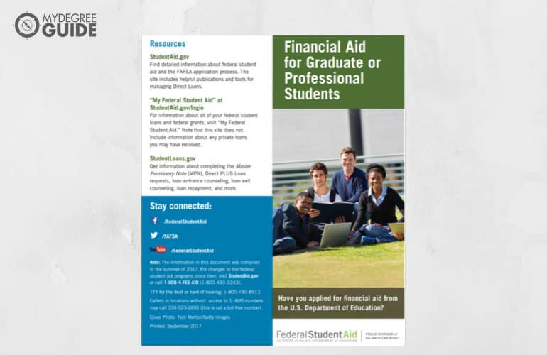 a screenshot of financial aid for graduate or professional students pdf