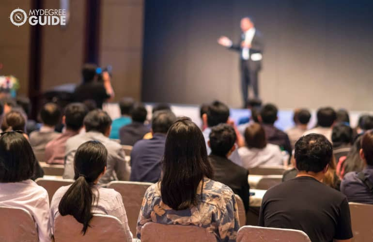 people attending a professional conference