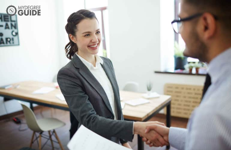 happy female applicant hired in a job