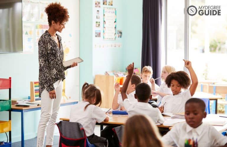 teacher following course curriculum