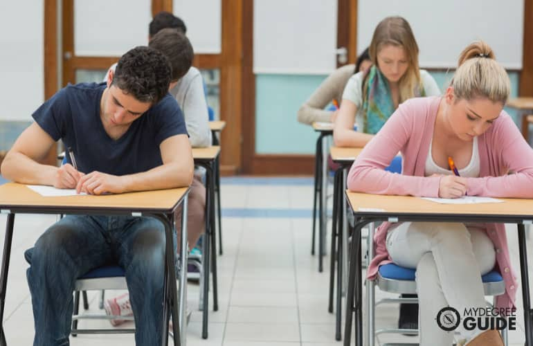 university students taking a test