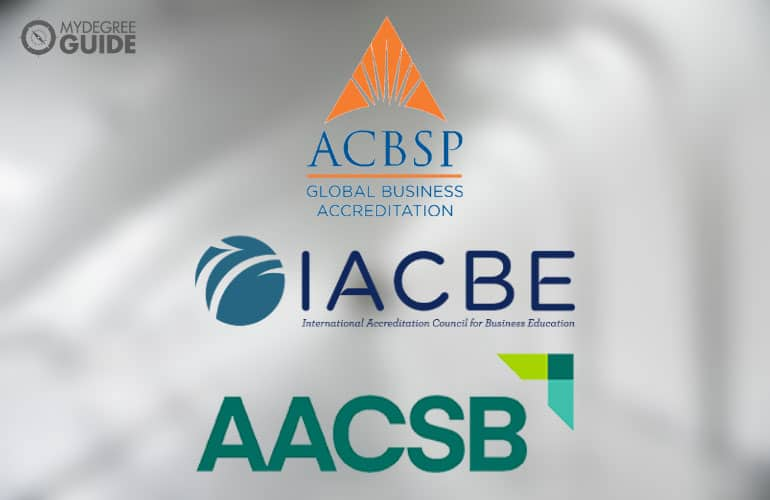 logos of the 3 business school accreditors