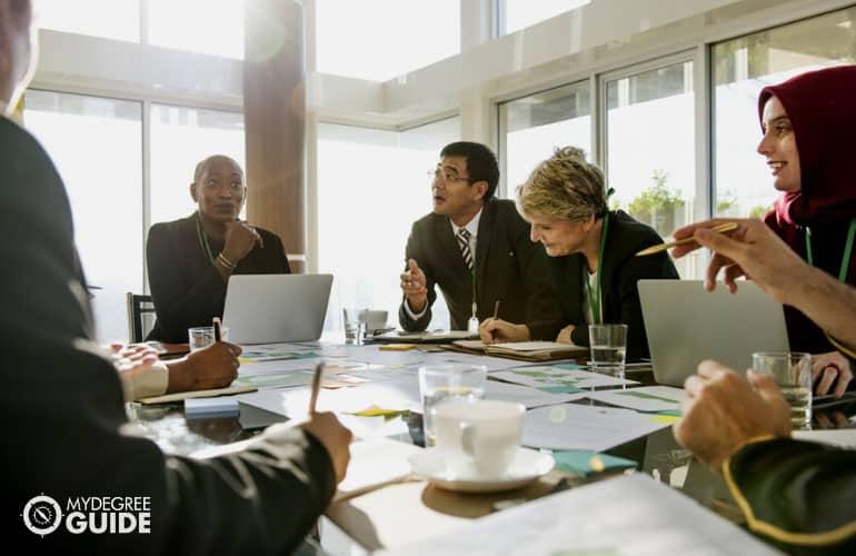 diverse team of businessmen having a meeting