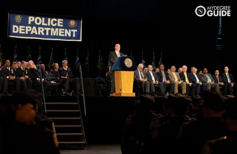 police chief giving a speech