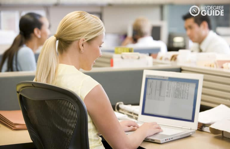 female employee working in the office