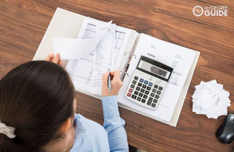 female accountant working on tax