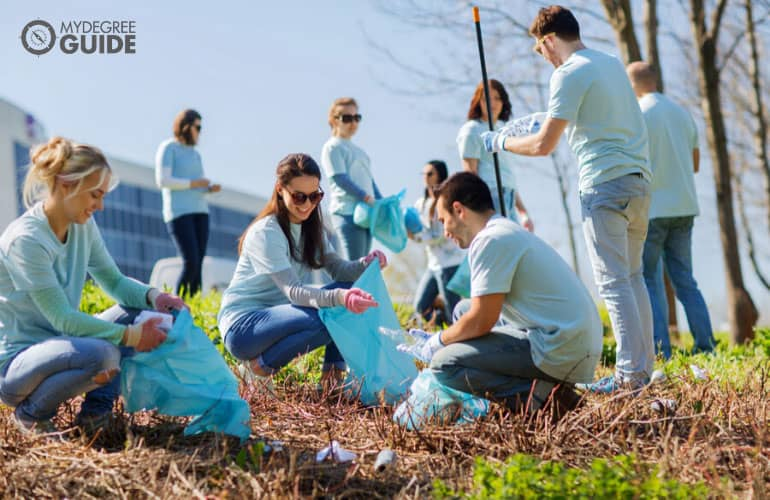 team of volunteers cleaning