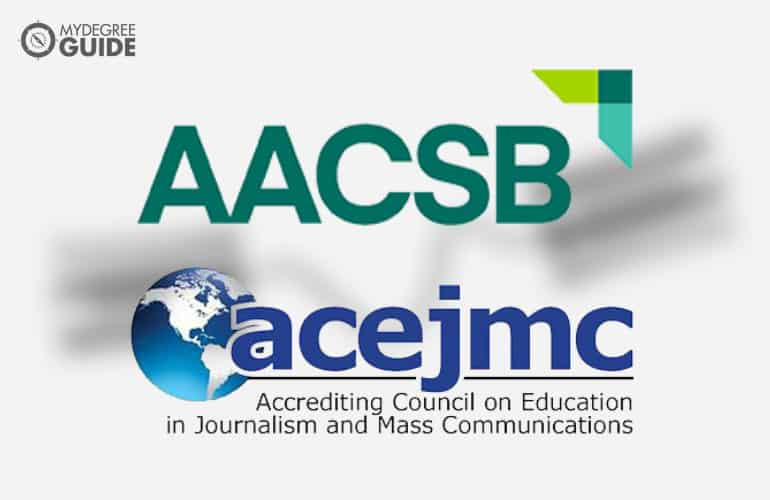 logos of Accreditation board for Online Communications Degree