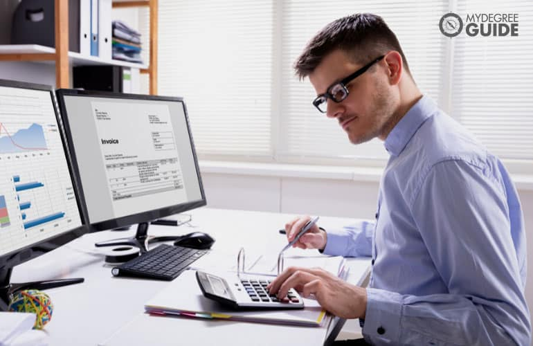 accountant working on company's invoice
