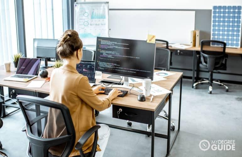web developer working in an office