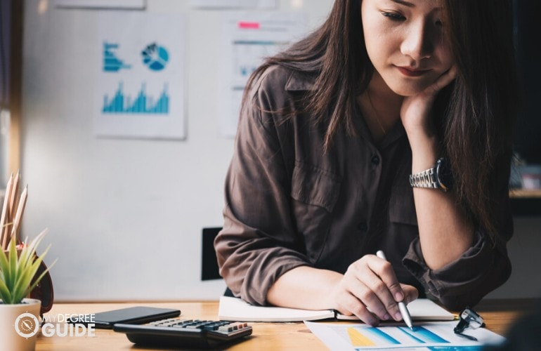 business woman working on company's finance department