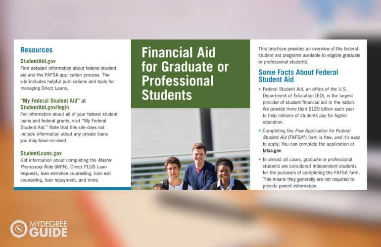 screenshot of graduate financial aid pdf
