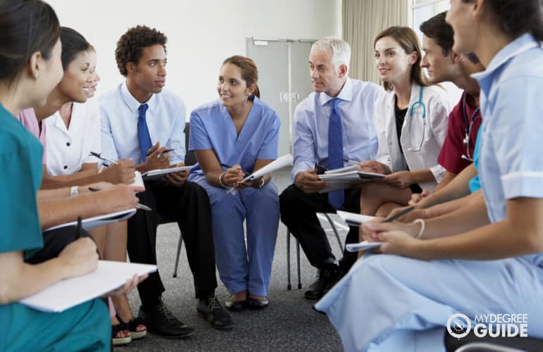 health professionals having a meeting