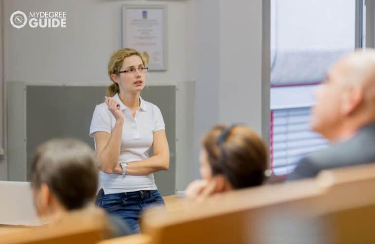 health educator conducting a seminar