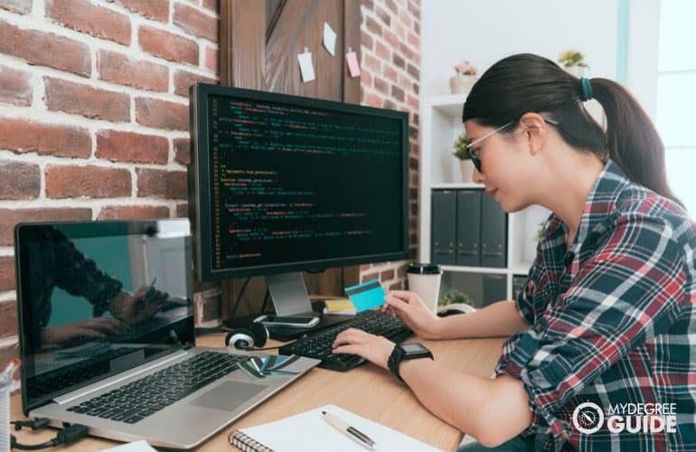 web developer working on her computer
