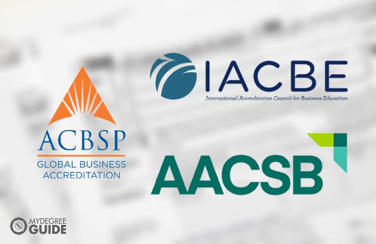 logos of three Business School Accreditation boards