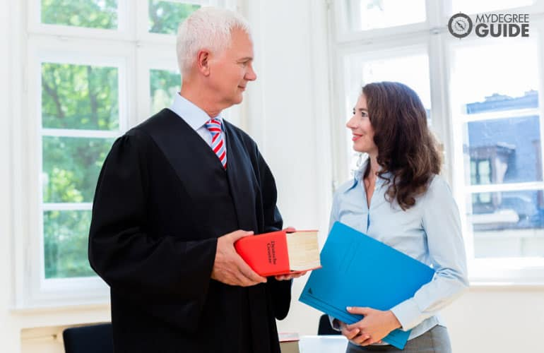 paralegal assisting a lawyer