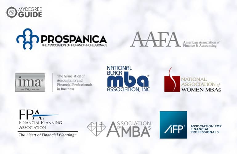 logos of Professional Organizations for those with an Advanced Finance Degree
