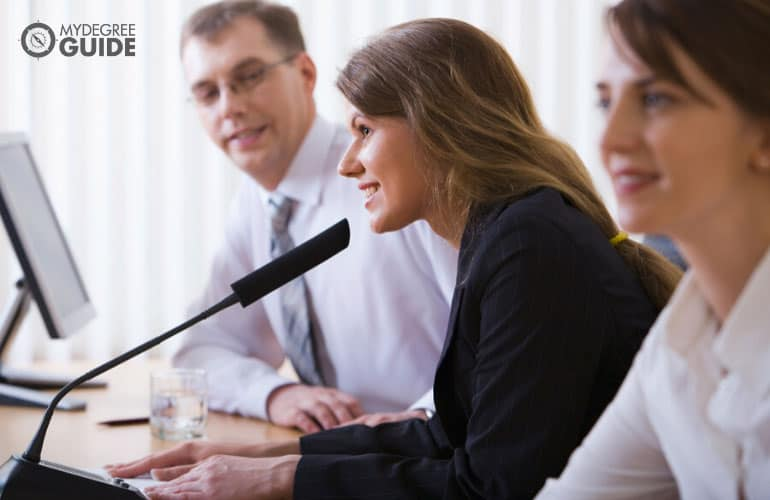 public relations manager speaking during a speech conference