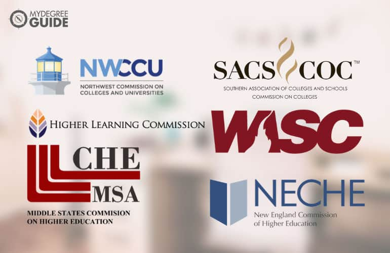 logos of six accreditation boards for American colleges
