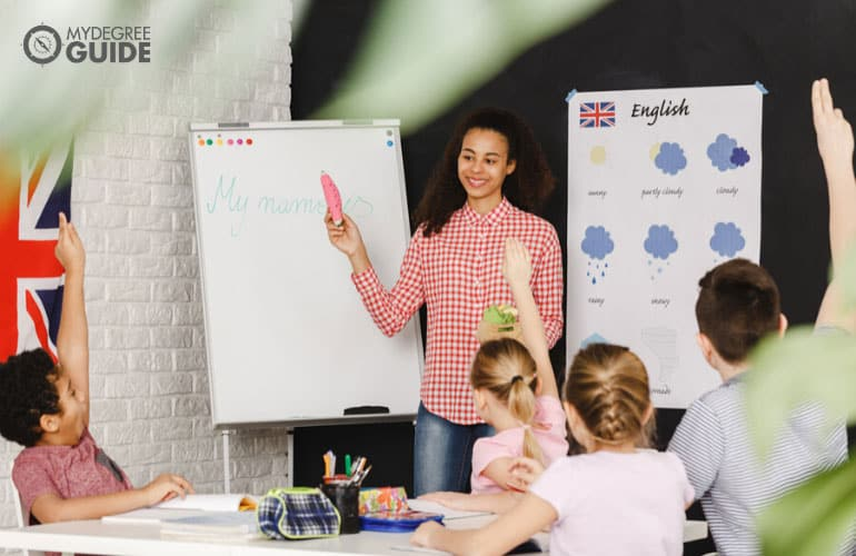 English teacher teaching her students basic English words