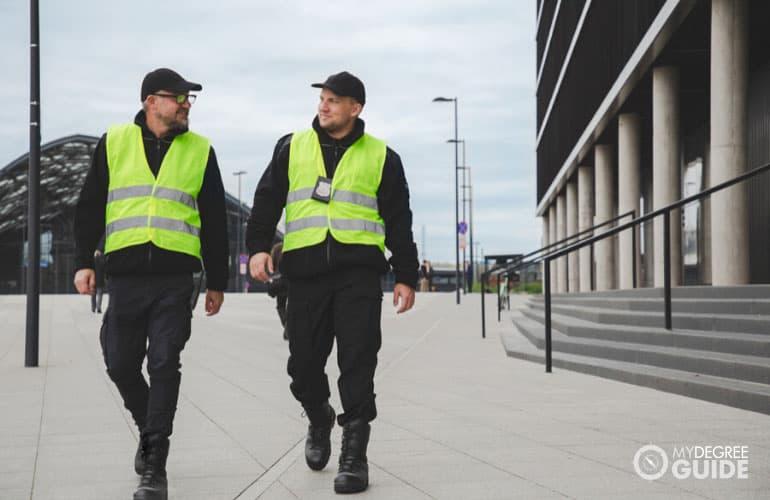 police officers walking on street