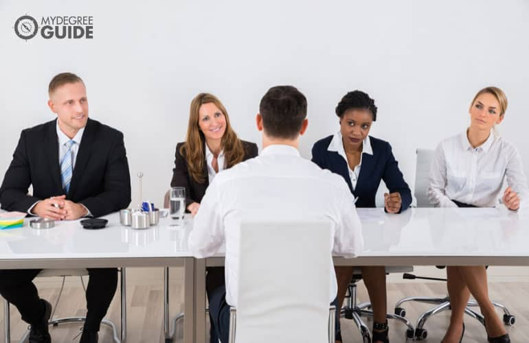 criminal justice student being interviewed during an admissions interview