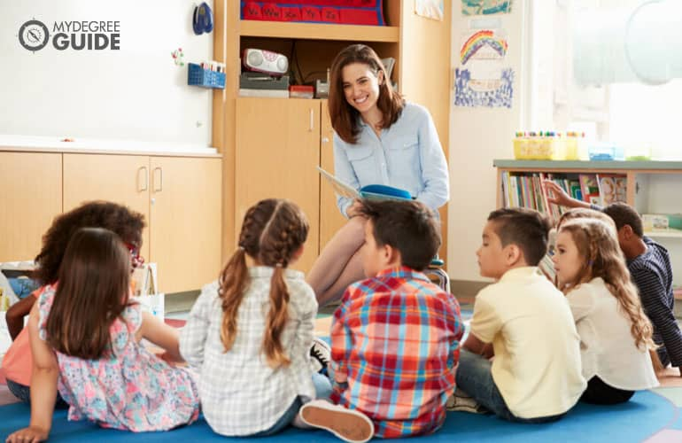 early childhood instructor reading a book to children