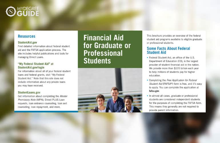 screenshot of the financial aid pdf for graduate studies