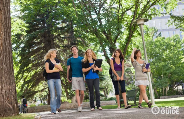 students walking in university campus