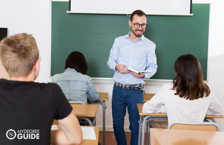 professor teaching students in a university