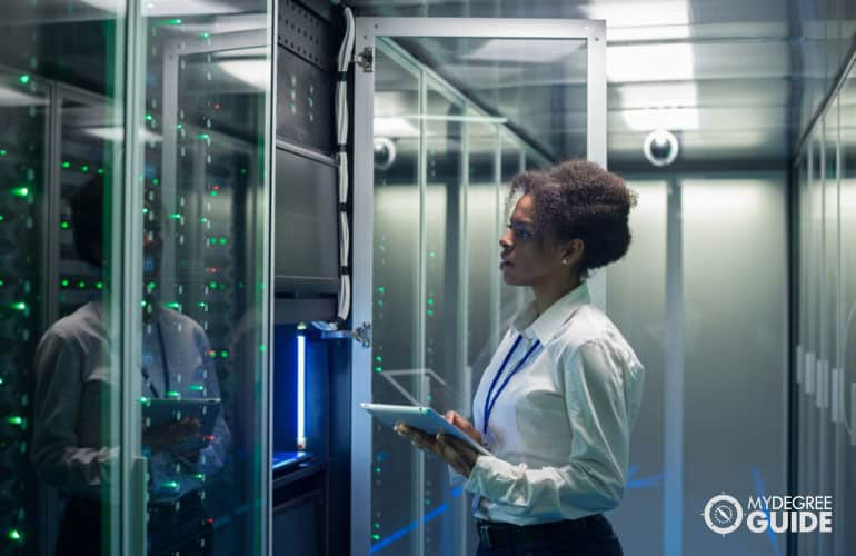 data science manager checking the data center