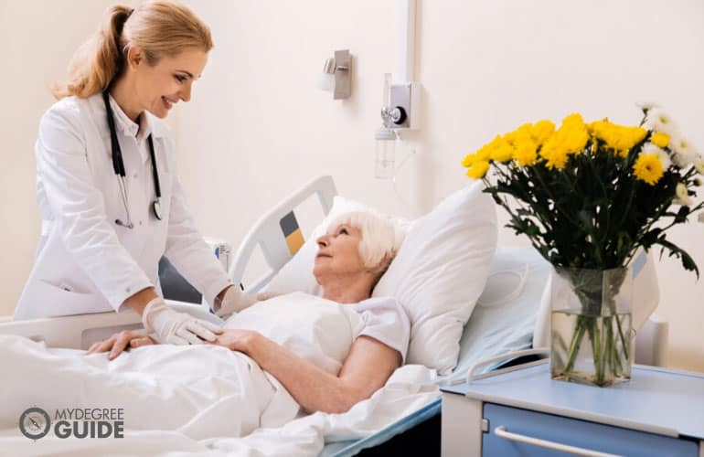 doctor checking a senior patient
