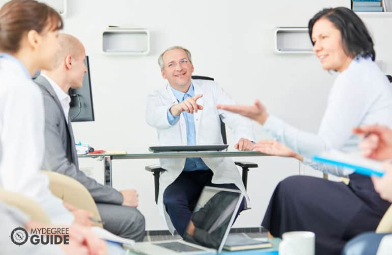 health administrators having a meeting