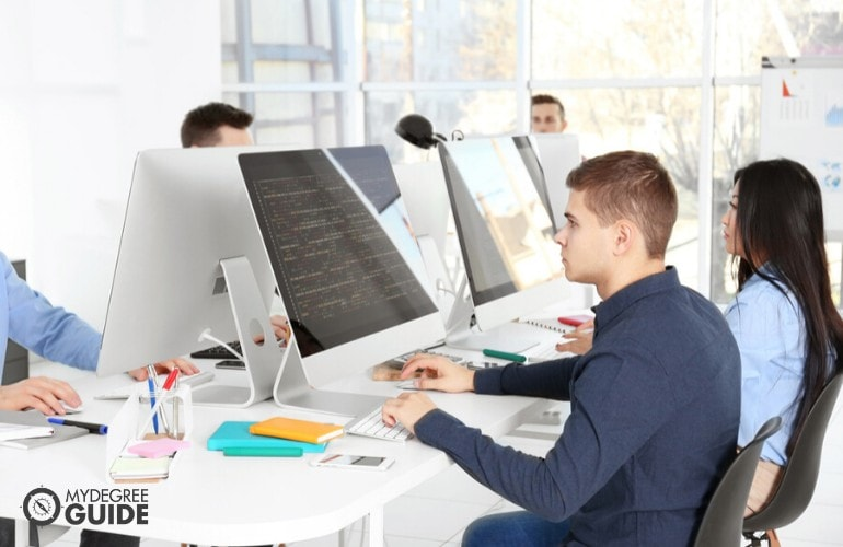computer programmers working together in an office