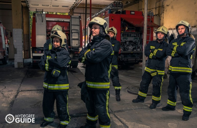 firefighters getting ready for duty