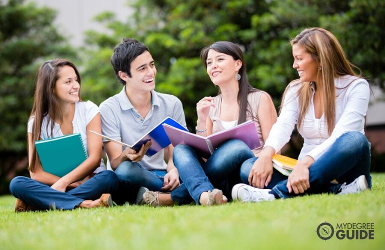 liberal arts students in university campus