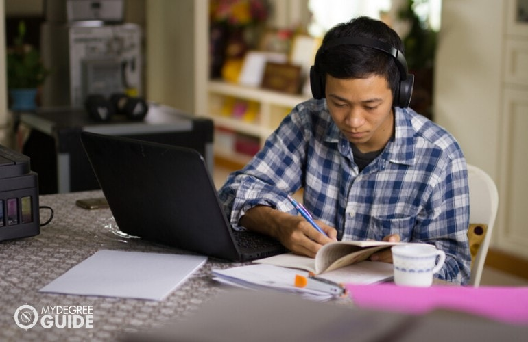 college student studying at home