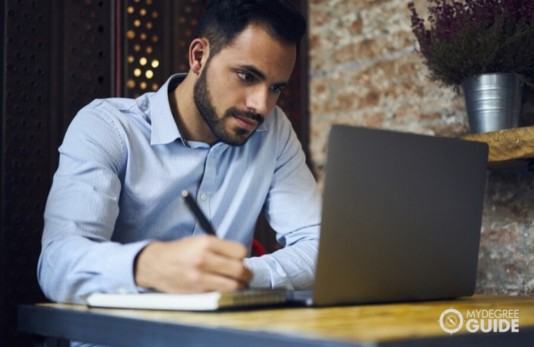 business professional studying online