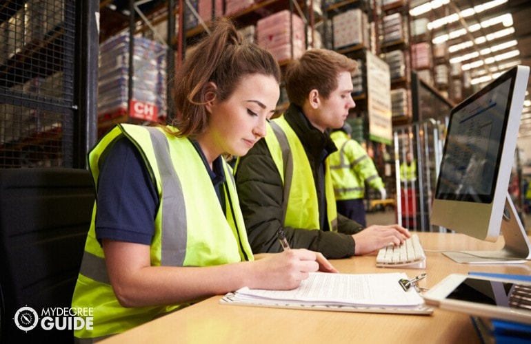 supply chain managers checking the inventory
