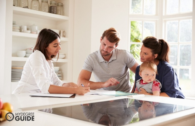 financial advisor meeting with a family asking for financial advise