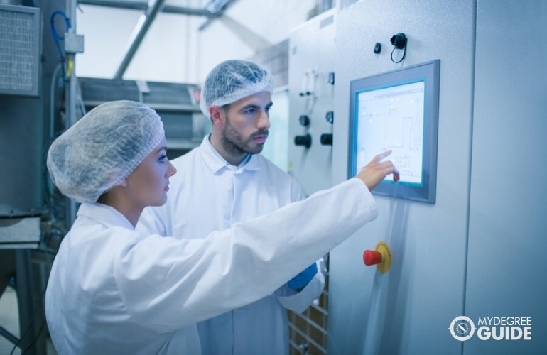 food scientists working in manufacturing company