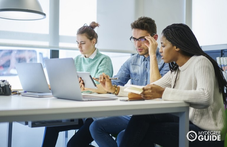 Information Technology students studying online