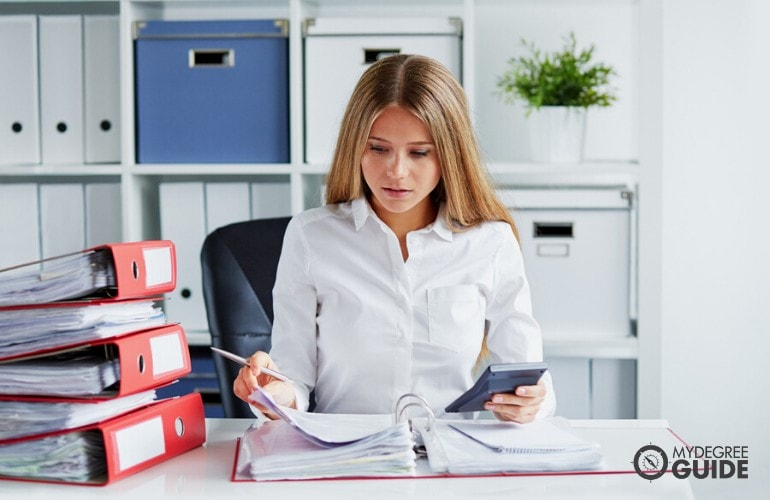 accountant working in her office