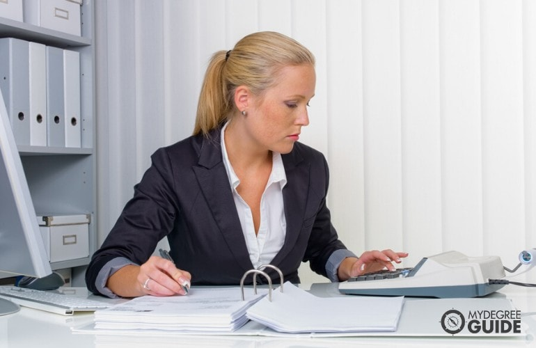 female accountant working in an office