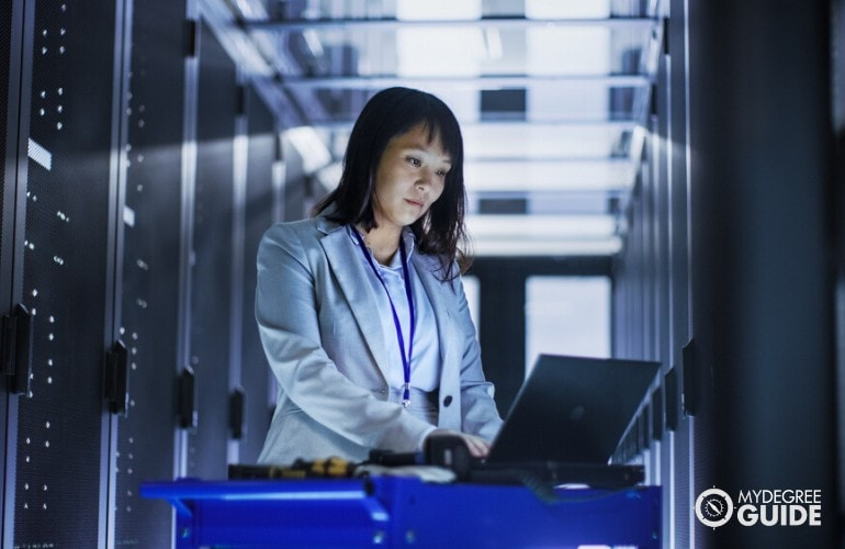 Database Administrator working in data center