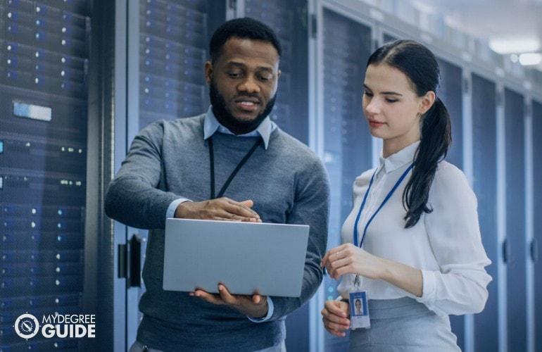 software engineers working in data center