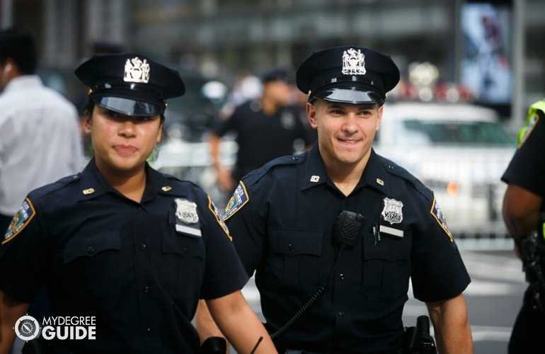 police officers walking on the streets